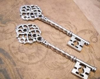 "Large Silver Skeleton Key Pendant Antiqued Silver 68mm 2.67"" 1 piece"