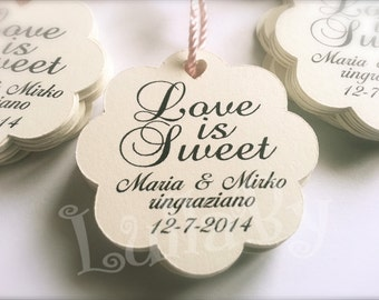 """LOVE IS SWEET custom wedding tags. Thank you tags. Scalloped circle tags - """"Bella"""""""