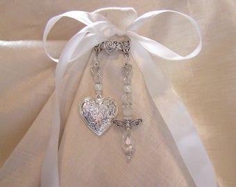 Crystal Guardian Angel Memory Charm Bridal Bouquet Photo Locket