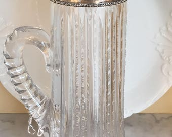 Antique Crystal / Sterling Pitcher