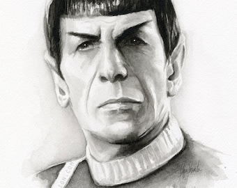 Spock Portrait Star Trek Art Watercolor Painting of Spock Giclee Print Leonard Nimoy Sci Fi Art Illustration Geek Decor Art Print