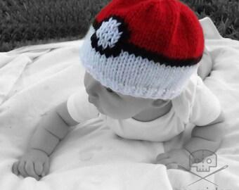 Pokemon- Inspired Pokeball Baby Hat- Machine Washable