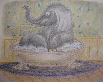 Elephant In Tub - 8 in x 10 in print