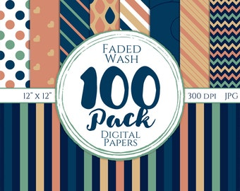 Digital Paper 100 Pack - Faded Wash - Commercial Use, Faded Digital Patterns