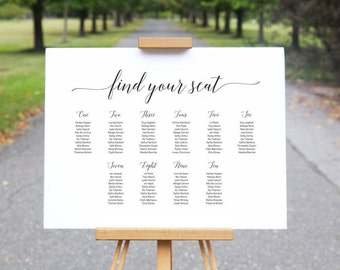 Wedding Seating Chart / Printable Wedding Sign / Calligraphy Wedding Signs / Minimalist Seating Plan / Printable Template Wedding Sign