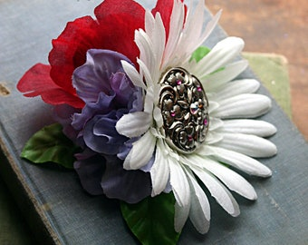 Raspberry and Lavender Fairy Fascinator Flower Cluster Clip  - Vegan, Tribal, Belly Dance, Wedding, Pin Up, Hair Garden, Rose, Daisy