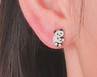 Panda earrings, panda bear earrings, bear earrings, animal earrings, mammal earrings, creature earrings, post back earrings, stud earrings,