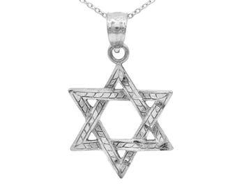 925 Sterling Silver Star of David Necklace with Polished Finish, Jewish Star Necklace Religious Pendant,Bar Mitzvah Gift or Bat Mitzvah Gift
