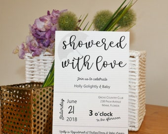 Showered with Love Template, Baby Shower Invitation, Custom Colors Available