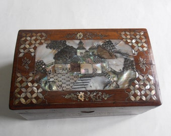 antique 19th c mother of pearl inlaid wooden Asian box