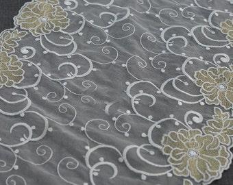 "2 yard 25cm 9.8"" wide ivory gold mesh embroidery lace trim ribbon L22K509 free ship"