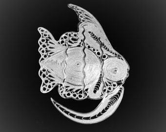 Brooch embroidered silver fin