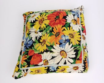 Vintage Embroidered Floral Pillow Handmade