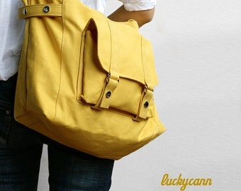 Mother s Day Big Sale CARSON // LemonChiffon / Line with Beige / 032 / Ship in 3 days // Messenger / Diaper bag / Shoulder bag / Tote bag /