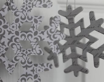14 white & silver snowflake ornament decorations...patterned paper covered chipboard large/small Snowflake die cuts
