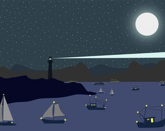 Sea side Night Panorama-Lighthouse Print-Ships wall art-Full moon print-Original-Starry night poster-Decorative Art Print-Colourful print