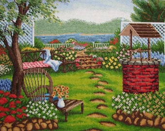 New Finished Completed Cross Stitch - Leisure garden - 9467