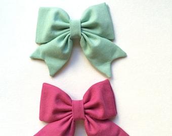 School Girl Bow Mint and Fuchsia