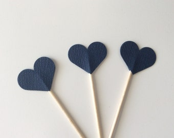Navy Heart Cupcake Toppers Appetizer Picks