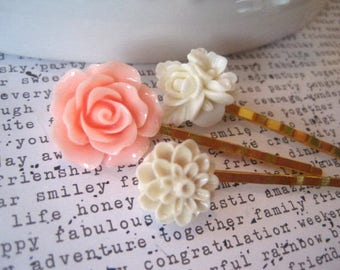 Bobby Pin Set, 3 White, Tan and Sweet Pink Flower Pins, Gold Bobbies, Vintage Style Hair Pin, Gift for Women, Stocking Stuffer, Small Gift
