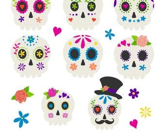 Sugar Skulls, Halloween Clipart, Skull Clipart, Printable, Commercial Use