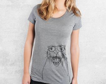 Jasper the River Otter - Tri-Blend Women's Fitted Crew Neck Shirt - Otter Lover Gift, Animal Lover, Funny Shirt