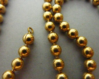 2 Vintage Brass Ball Chain Necklace 20 in