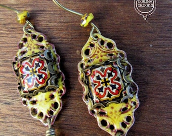 Ethnic earrings, Mexican Folk art, Filigree Earrings, Mexican jewelry, Yellow enamel earrings, Statement earrings, tile earrings