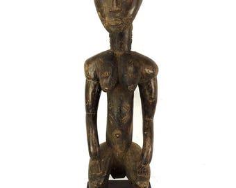 Baule Seated Female Figure Cote d'Ivoire African Art 37 Inch 119541