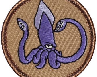 Purple Squid Patch (484) 2 Inch Diameter Embroidered Patch