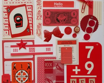 Everything RED Vintage Ephemera Collection | 25+ pieces | Mixed Media | Junk Journal | Scrap Pack | Inspiration Kit | Paper Arts & Crafts