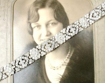 Vintage Art Deco Clear Pave Rhinestone Bracelet, Lacy Wide Link Great Gatsby Brida, Flapper 1920s Wedding Jewelry Silver Statement Bracelet
