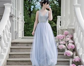 Dusty blue wedding dress, bohemian wedding dress, dusty blue bridal gown, boho chic wedding dress, beach wedding dress, bridal gown - Ceres