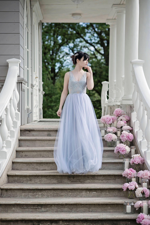 Staubigen blauen Brautkleid böhmische Brautkleid staubigen