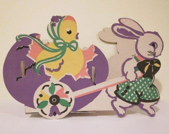 Wonderful Vintage Easter Rabbit Pulling a Chick in an Egg Cart Candy Container 1940s