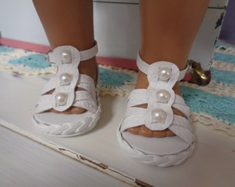 "White Sandals-- for 18"" Dolls--Shown on my American Girl Doll"
