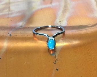 Turquoise and Sterling Silver stacking ring