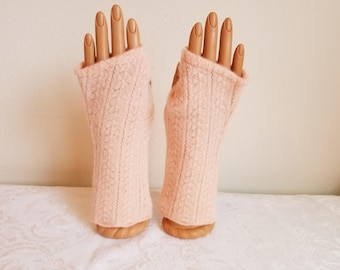 Pretty in Peach Lace Fingerless Gloves in Soft Merino Wool/Angora