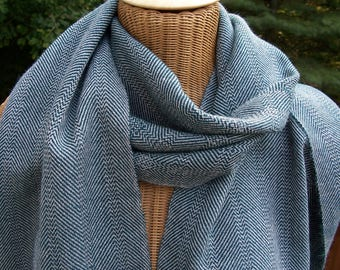 Handwoven Scarf Herringbone Alpaca Teal Blue Light Gray
