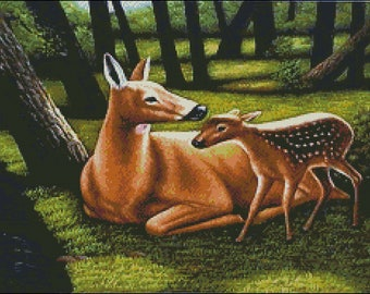 Deer Mom and Fawn - Cross stitch Pattern Chart needlework counted, Print paper shipped by mail