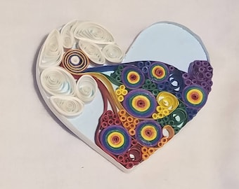 Rainbow Heart Quilled Magnet