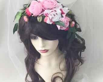 Flower headpiece, Bridal headdress, festival headdress, boho headdress,  bridal headpiece,