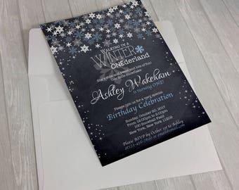 Winter Wonderland Invitation | Winter Onederland Invitation | Winter ONEderland | Blue and Silver Invitations | 1st Birthday | Chalkboard