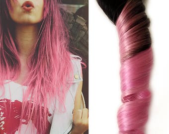 Dark Root Cotton Candy Pastel Pink Ombre Human Hair Extensions for Perfect Mermaid, Unicorn and Princess Highlights