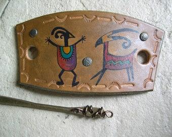 505 LEATHER hair slide, stick barrette, bun holder, Cave Art, petroglyph, Southwest, tribal, ancient, prairie, primitive,