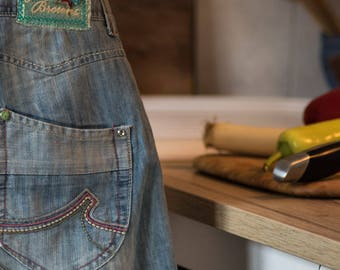 Recycled jeans cooking/working bib  apron, fancy cooking apron, one of a kind apron, light blue apron .