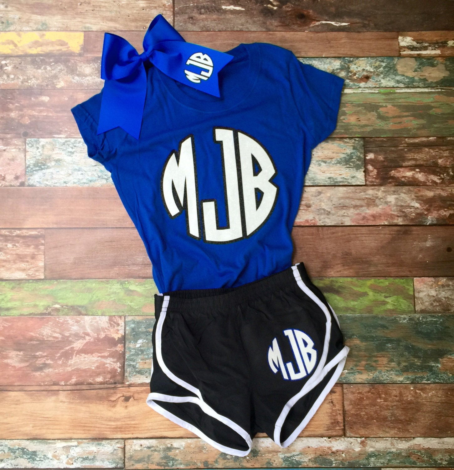 Monogram Cheer Bow Running Shorts Tshirt Team Discounts