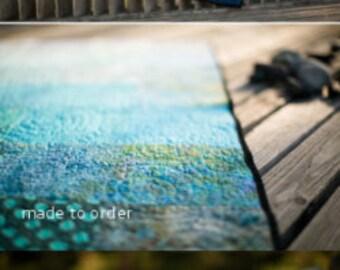 Modern Quilts Throw Size Quilt Handmade Quilt Turquoise Quilt Ocean Quilt Lap Quilt Ombre Quilt Meditation Blanket Fiber Art Quilt Sea Theme