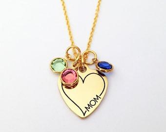 Birthstone Necklace for Mom, Mom Necklace, Mothers Day Gift for Mom, Mom Birthstone Necklace, Mom Gifts, Mom Birthstone Jewelry Personalized