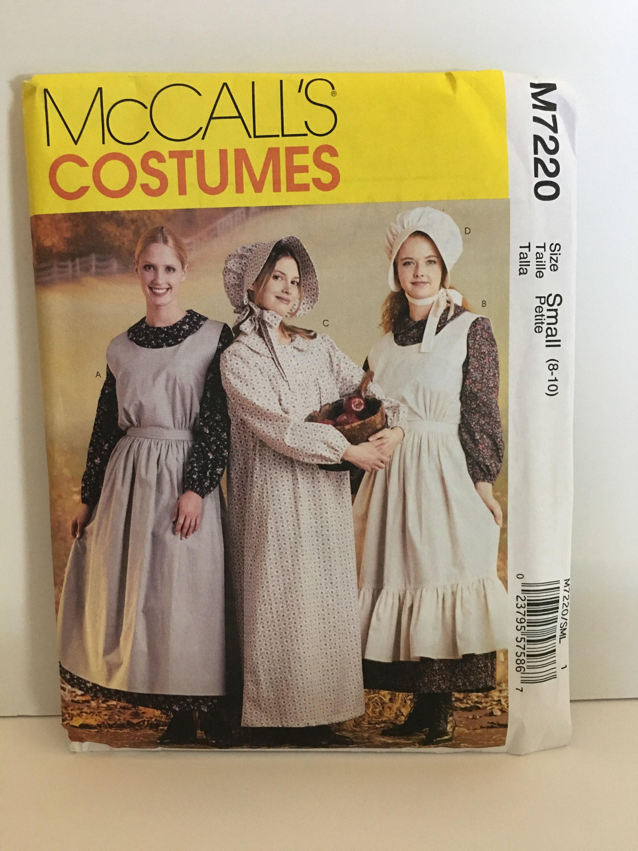 Schürze Motorhaube und Kleid Kostüm Muster Pionier Ära für
